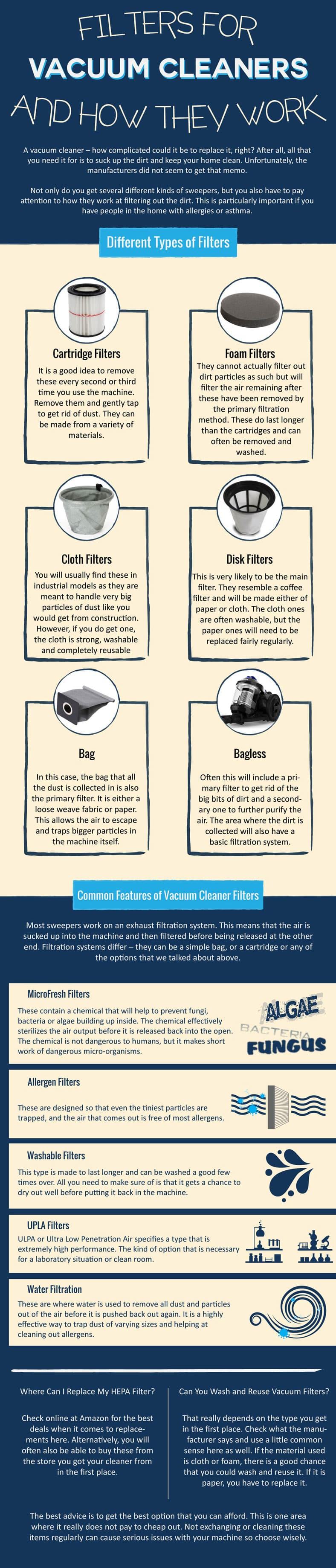 Filters for Vacuum Cleaners and How They Work Infographic