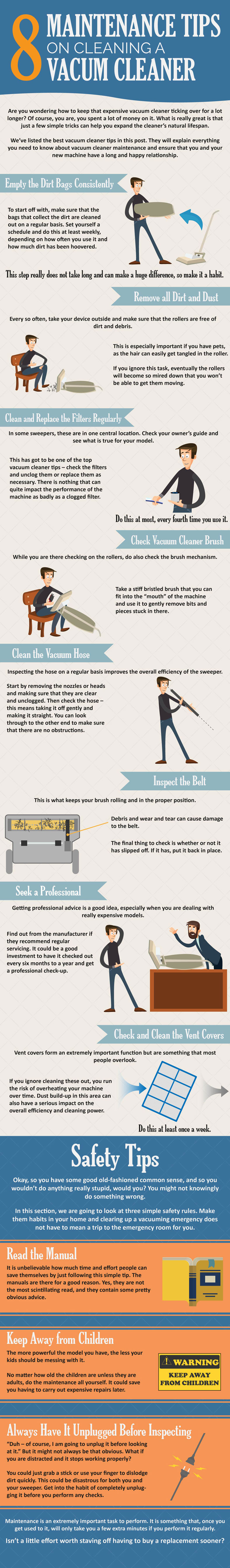 Maintenance Tips on Cleaning a Vacuum Cleaner Infographic