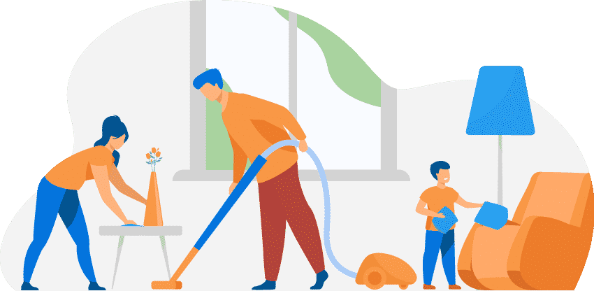 Illustration of a Family Cleaning their House